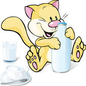 Cute kitty with milk isolated on white — Stock Vector