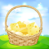 Vector basket with cheese — Stock Vector