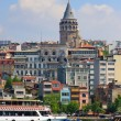 Galata Tower and Ferry cruising harbor, Istanbul, Turkey - Stock Photo