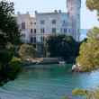 Beautiful white miramare castle in trieste italy - Stock Photo