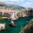 Dubrovnik scenic view on city walls — Stock Photo