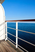 Luxurious cruise ship balcony view on blue ocean — Stock Photo