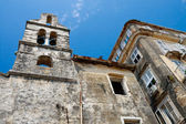 Decayed old church and houses, Corfu City Greece — Stock Photo