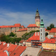 View on the Schwarzenberg castle in Cesky Krumlov / Krumau - Stock Photo