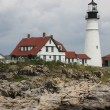 Cape Elizabeth Lighthouse before cloudy sky, New England, Portland, Maine - Stock Photo