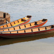 Three river boats and barges bent to pier — Stock Photo #13381346