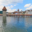 Luzern view of Chapel Bridge  — Stock Photo