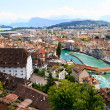 Luzern City View from city walls with river Reuss, Switzerland — Stock Photo #13382411