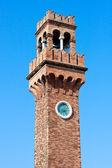 Murano Campanile (clock tower) close up, Venice, Italy — Stock Photo