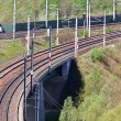 Railway Junction View from Above - Stock Photo