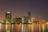 Miami Florida bayfront skyline at night — Stock Photo
