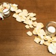 Stock Photo: Spa still life with candle and rose petals