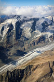 Pasterze Glacier at Grossglockner massif - aerial view, Austria — Stock Photo