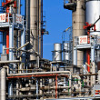 Stock Photo: Oil Refinery (blue sky)