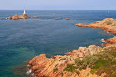 Corbiere Lighthouse and Rocky Coast, Jersey, The Channel Islands — Stock Photo