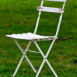 Stock Photo: White wooden garden chair