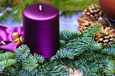 Candle of Christmas Advent Wreath — Stock Photo