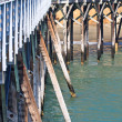 Detail view of beautiful old wooden pier — Stock Photo