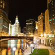 Chicago River at Night - Stock Photo