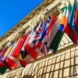 Stock Photo: Vienna, Austri- international set of flags on Hofburg palace