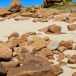Granite boulders on french atlantic coast beach, Brittany — Stock Photo