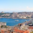 Istanbul Panoramic View from Galata tower to Golden Horn, Turkey - Stock Photo