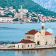 Our Lady of the Rocks and Perast, Montenegro - 图库照片