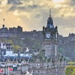 Edinburgh Castle and Balmoral Clock Tower at Dusk, Scotland — Stock Photo
