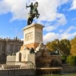 Madrid Plaza de Oriente, Statue of Felipe IV. Madrid, Spain — Stock Photo