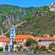 Durnstein on the river danube (Wachau Valley), Austria - Stock Photo