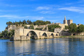 Avignon Bridge with Popes Palace, Pont Saint-Beenezet, Provence, — Stock Photo