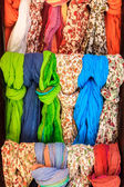 Colorful scarves at the market place — Stock Photo