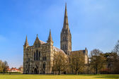 Salisbury Cathedral Front view and park on sunny day, South Engl — Stok fotoğraf