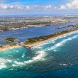 Aerial View on Florida Beach and waterway near Palm Beach — Stock Photo