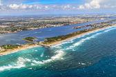 Aerial View on Florida Beach and waterway near Palm Beach — Stock Photo