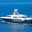 A large private motor yacht under way out at sea  — Stock Photo