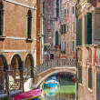 Romantic canal and bridge in center of Venice, Italy — Stock Photo