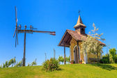 Styrian Tuscany Vineyard with small chapel and windmill, Styria, — Stock Photo