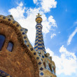 Park Guell, entrance tower details, Barcelona, Spain - Stock Photo