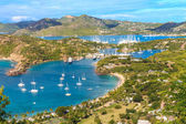Luchtfoto van antigua baai, falmouth bay, engels harbour, antigua — Stockfoto