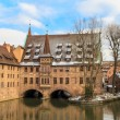 Nuremberg, ancient medieval hospital along the river, Germany — Stock Photo