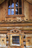 Wooden log cabin in the European Alps — Stock Photo