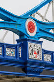 Tower Bridge details of iron cross beams, London, UK — Stock Photo