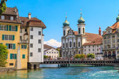 Lucerne city view with river Reuss and Jesuit church, Switzerlan — Stock Photo