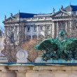 Vienna - Entrance portal of Burggarten with Hofburg Palace in ba — Stock Photo #24795725