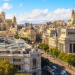 Madrid cityscape and aerial view of of Gran Via shopping street, — Stock Photo #28545053