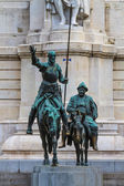 Madrid, Don Quijote and Sancho Panza Statue, Spain — Stock Photo