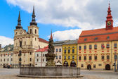 Jihlava (Iglau) Main (Masaryk) Square with Saint Ignatius Church — Stock Photo