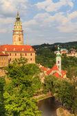 Cesky krumlov krumau, widok na rzekę i zamek — Zdjęcie stockowe