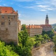 Stock Photo: Cesky Krumlov, Krumau castle and tower, UNESCO World Heritage Site